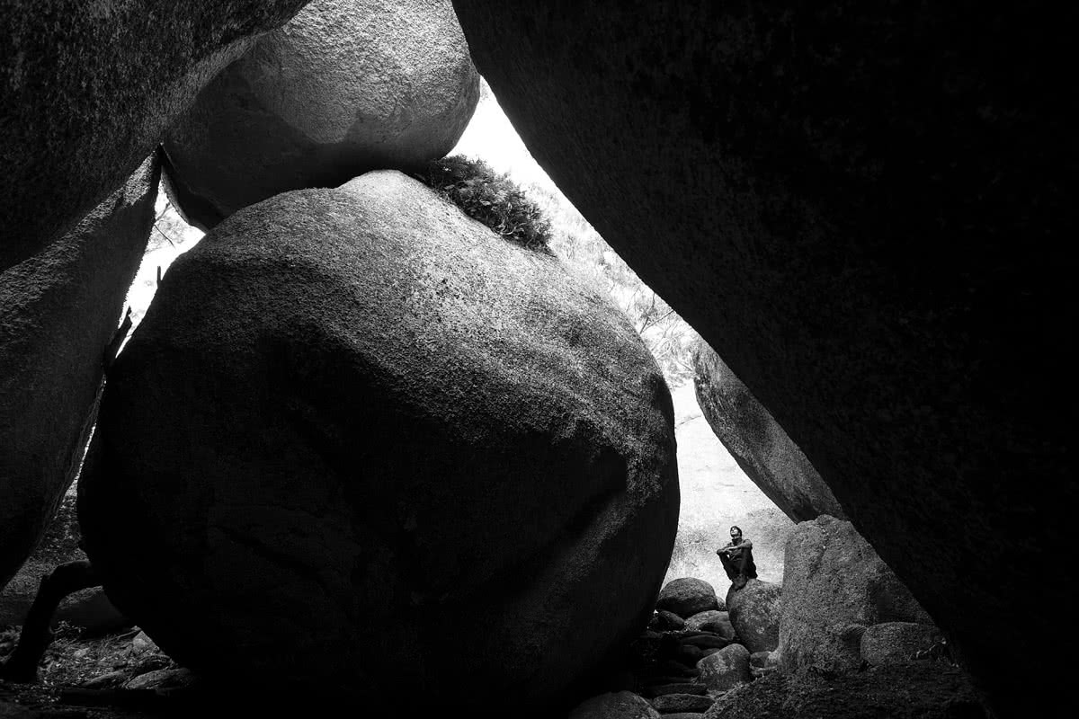 The Bare Beauty Of Bald Rock National Park (NSW) // Photo Essay, Liam Hardy, boulders, black and white, small, tiny, dwarfed, slot