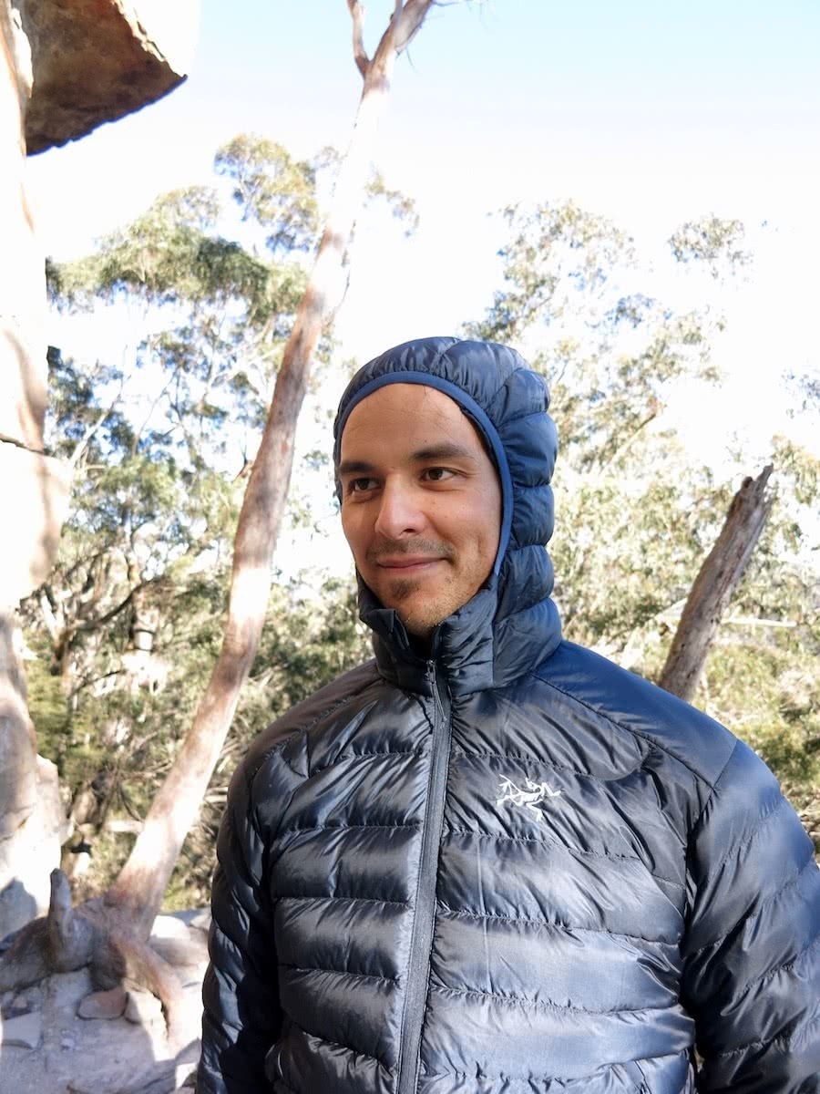arc'teryx cerium LT review, james stuart, jacket, camera, smoke, belay pitch