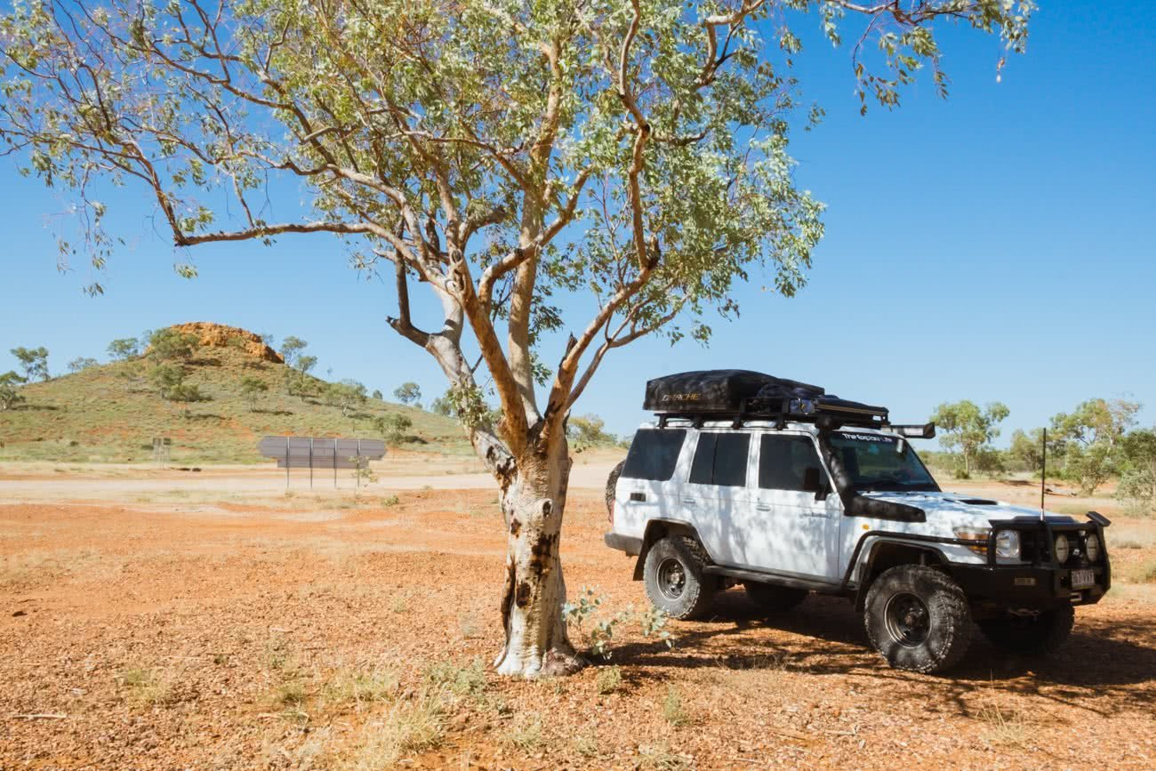 Out There In An Outback Oasis // Adels Grove (QLD), Grace and Brenton Keller, tree, 4WD, car, desert, outback