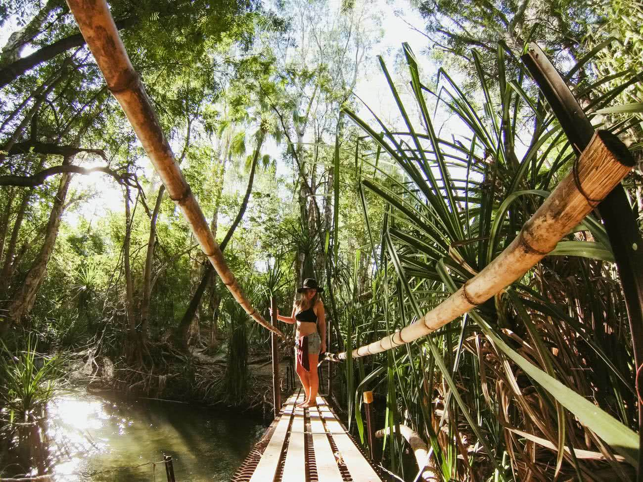 Out There In An Outback Oasis // Adels Grove (QLD), Grace and Brenton Keller, bridge, woman, bamboo, jungle