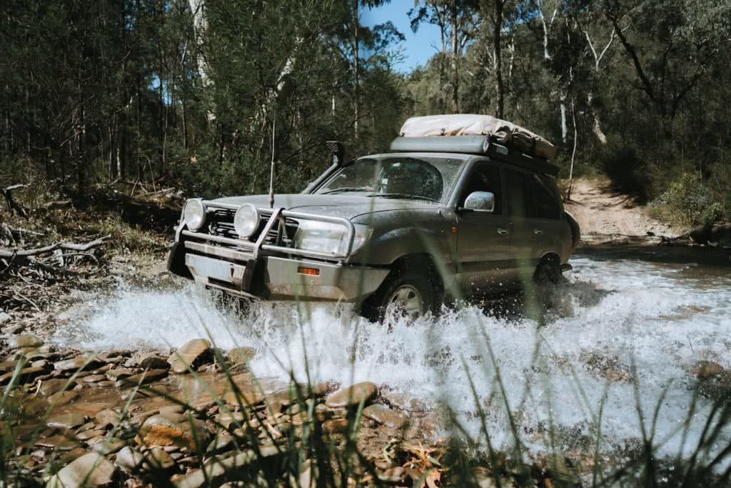 Top 5 tips for a quiet campsite Mattie Gould Ain Raadik creek crossing car 4wd