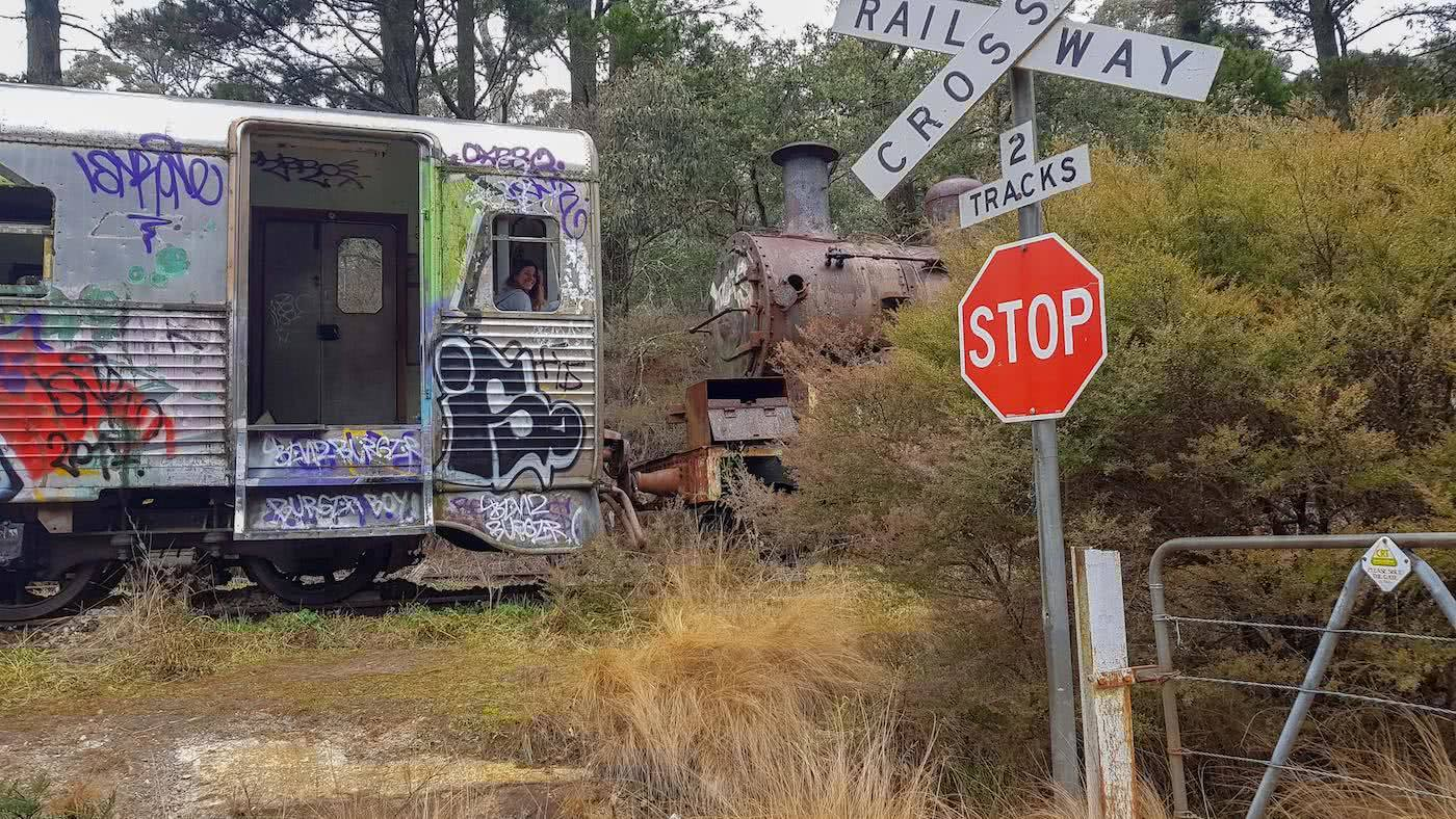 'Get Lost' Near Sydney // 4WD Adventure To The Lost City (NSW), Brooke Nolan, railway carriage, zig zag railway, stop sign, urbex, disused