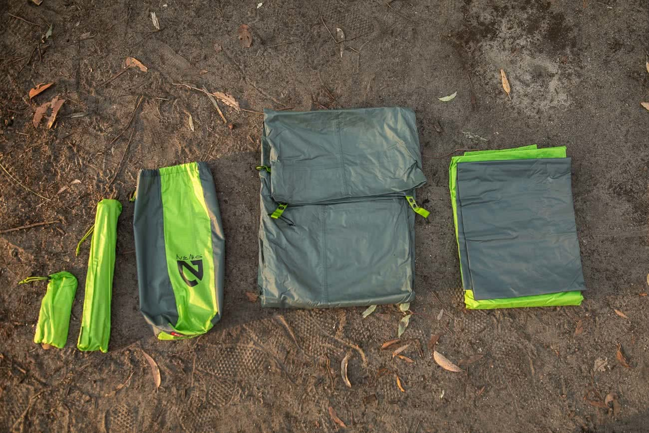 Sleeping Like A Star - NEMO Galaxi 2P // Gear Review, Jon harris, review by Mattie Gould, meroo head camp ground, nsw, flatlay