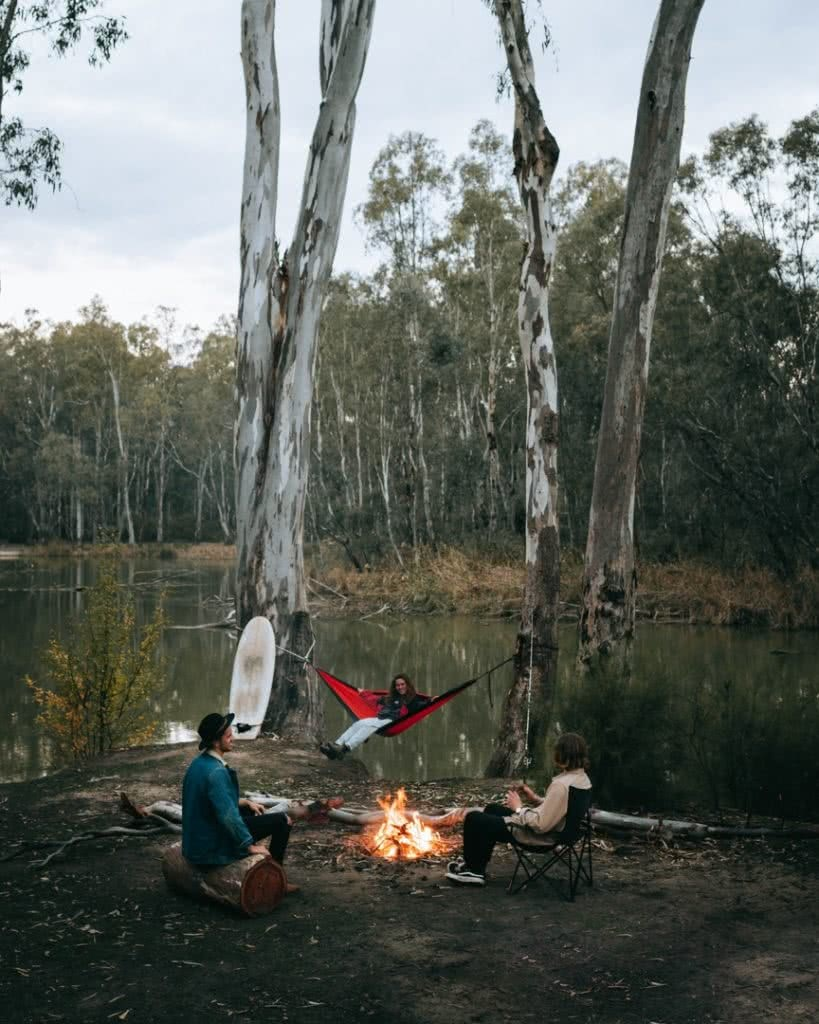 Top 5 tips for a quiet campsite Mattie Gould Ain Raadik campfire hammock campsite creek river
