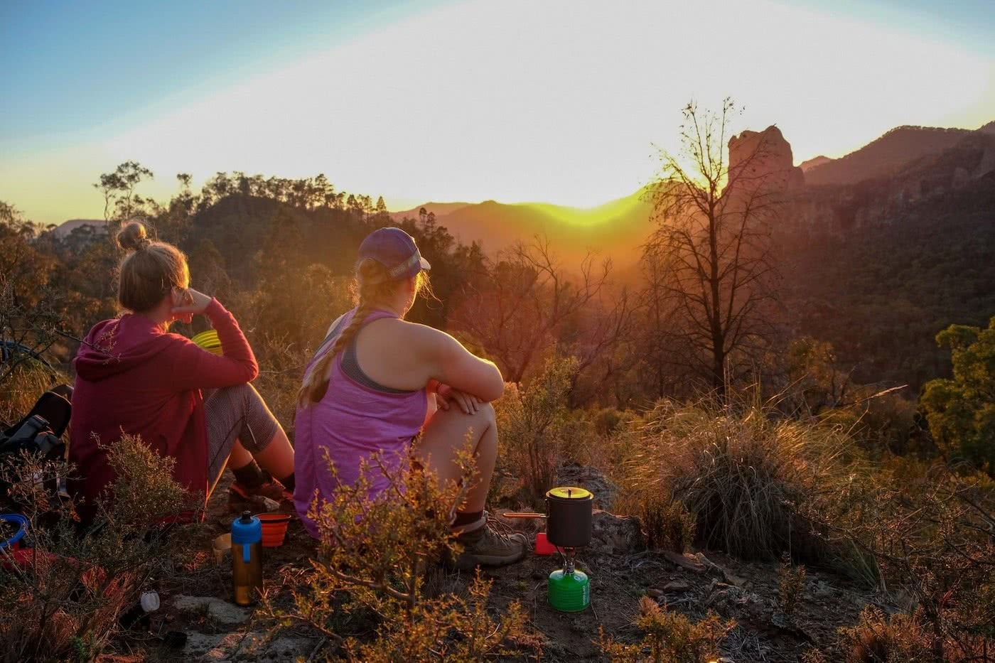 Brooke Nolan // Explorer Of The Month - September '18, Warrumbungles, sunset, resting, gazing, sitting, camp stove, dinner time, end of day
