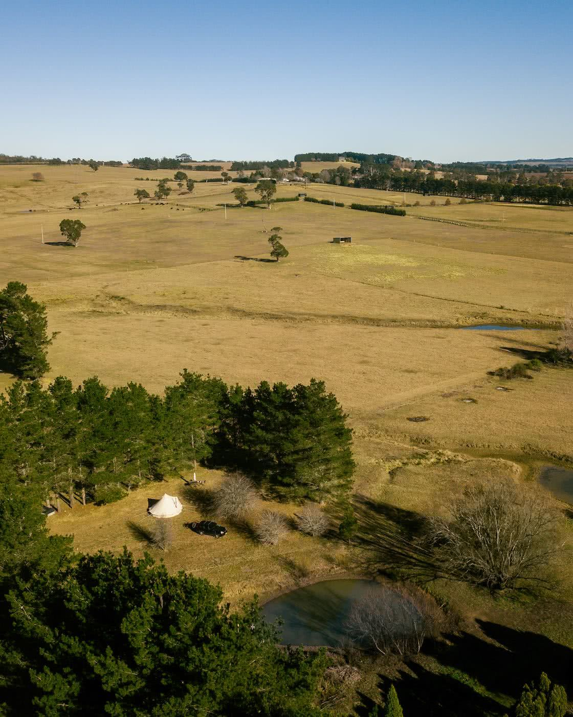 Two Wheels And A Teepee // Glamping & Cycling In Bowral (NSW), Karl Reynolds, bell tent, fields, aerial, drone
