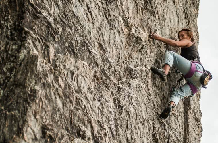 Changing The Female Climbing Scene // A Conversation With Olivia Page, Olivia Burton, climber, rock face, wall, vertical, chalk bag