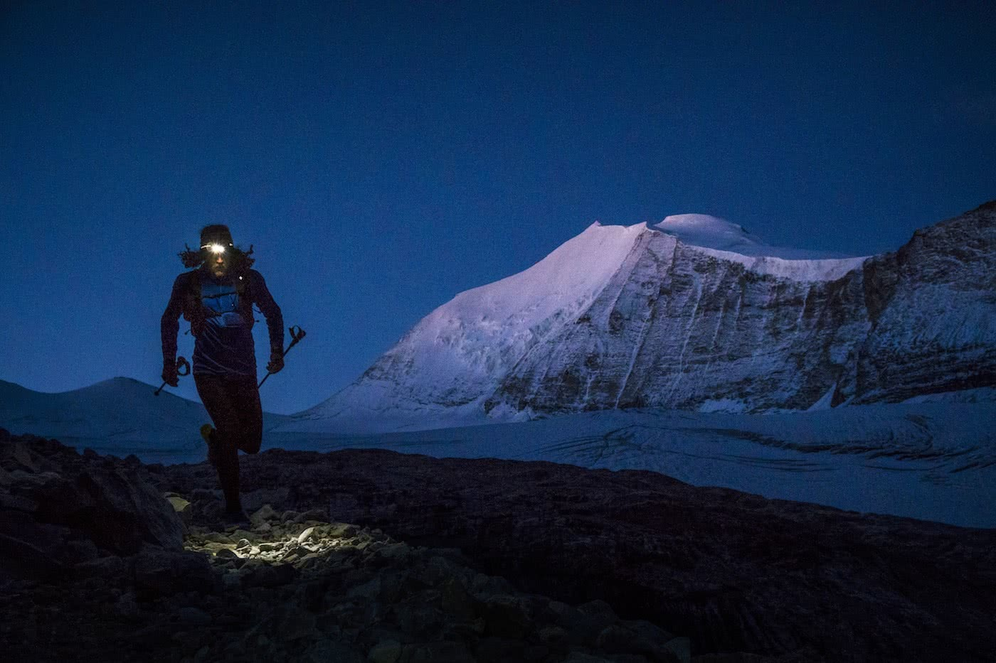 Runner Guy // An Interview With Trail Runner Joe Grant, Photo by Dan Patitucci, night running, head torch, snow, mountain, dark