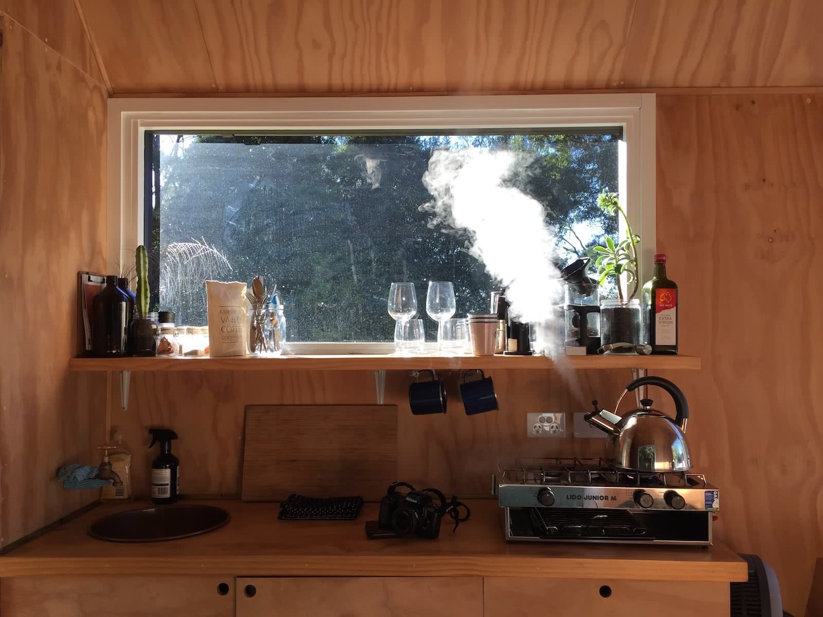 A Notification Vacation // The Cabin Series With Unyoked, photo by Tim Ashelford, miguel, unyoked cabin, coffee, kettle, steam