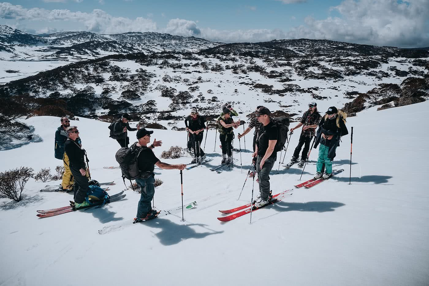 Wait, Australia Has Backcountry Skiing? Is It Any Good? Photo by Ain Raadick or Ben Savage, Arc'teryx event, snow, skiers, group, instruction