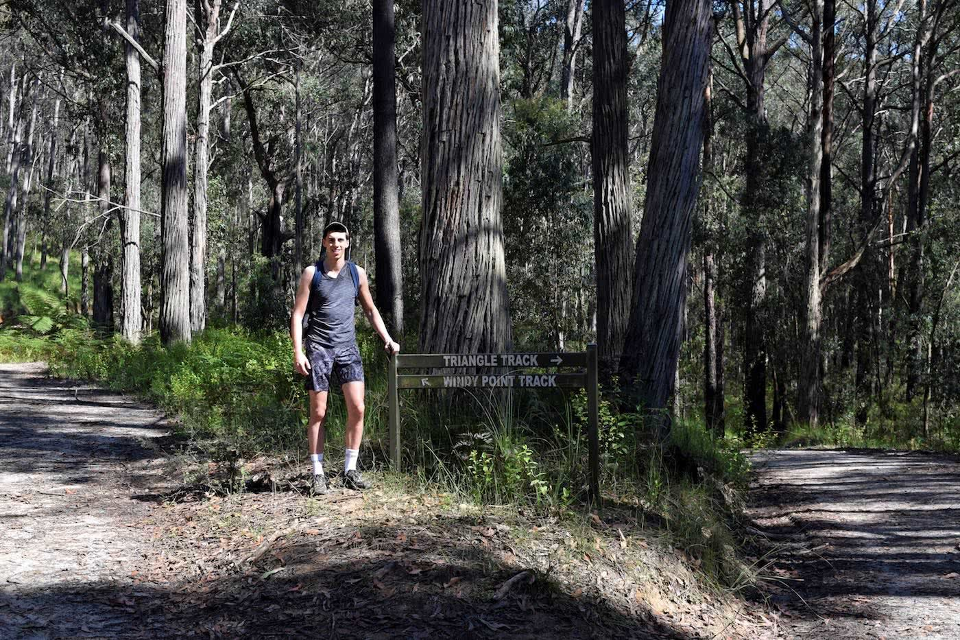 Boulders And Bunyips // Four Brothers Rocks - Bunyip State Park (VIC), Alex Kostas, hiker, signs, junction, two tracks, options, choices