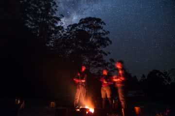 Rewild Yo'self // Inner Self, Meet The Outdoors, Yasmin Maher, campfire, stars, astrophotography, night time, firelight