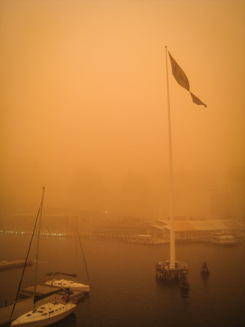 Get Ready - There's Another Dust Storm About To Hit Sydney, kate miles, nsw, sydney, dust storm, orange, flag pole