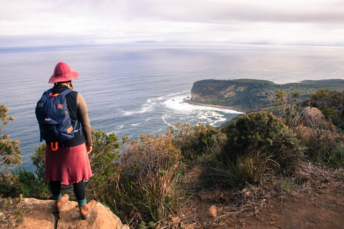Winter Days at Shipstern Bluff (TAS) Caitlin Weatherstone cliff coastline ocean backpack
