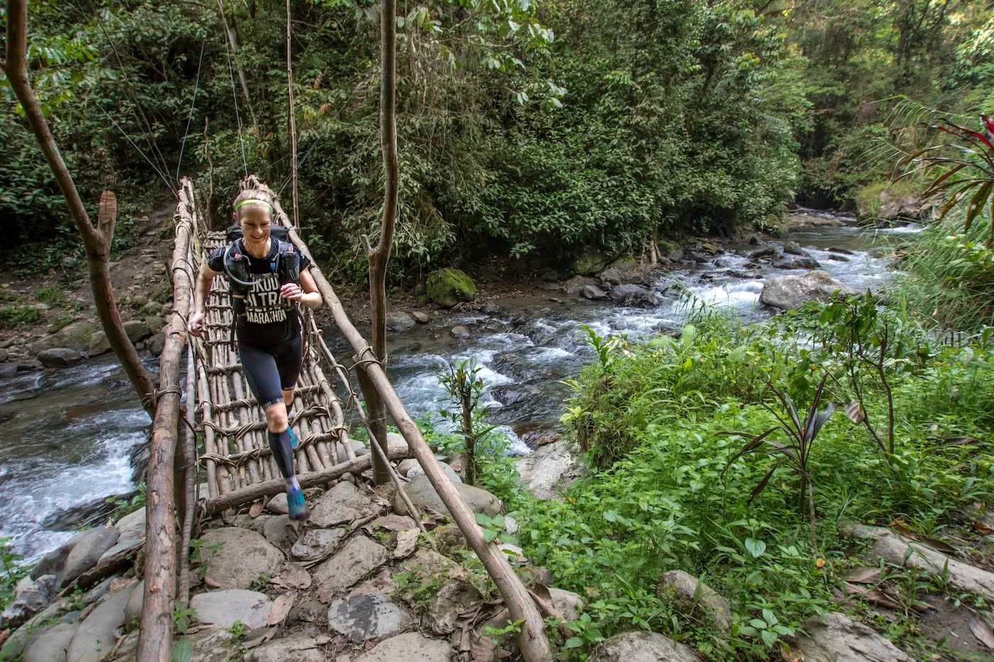 Lessons From A Trail Running Rookie, Simone Mckeown, photographer Chris Ord, runner, bridge, rainforest