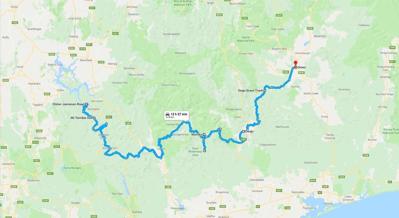4WD winter adventure, high country (VIC) Timothy Blacketer map route