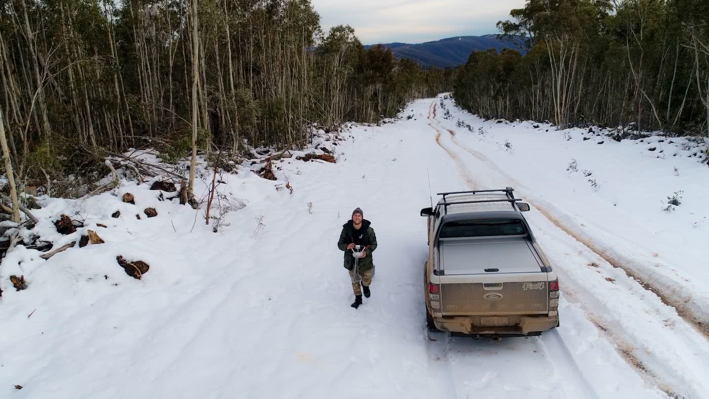 4WD winter adventure, high country (VIC) Timothy Blacketer snow road ute.JPG