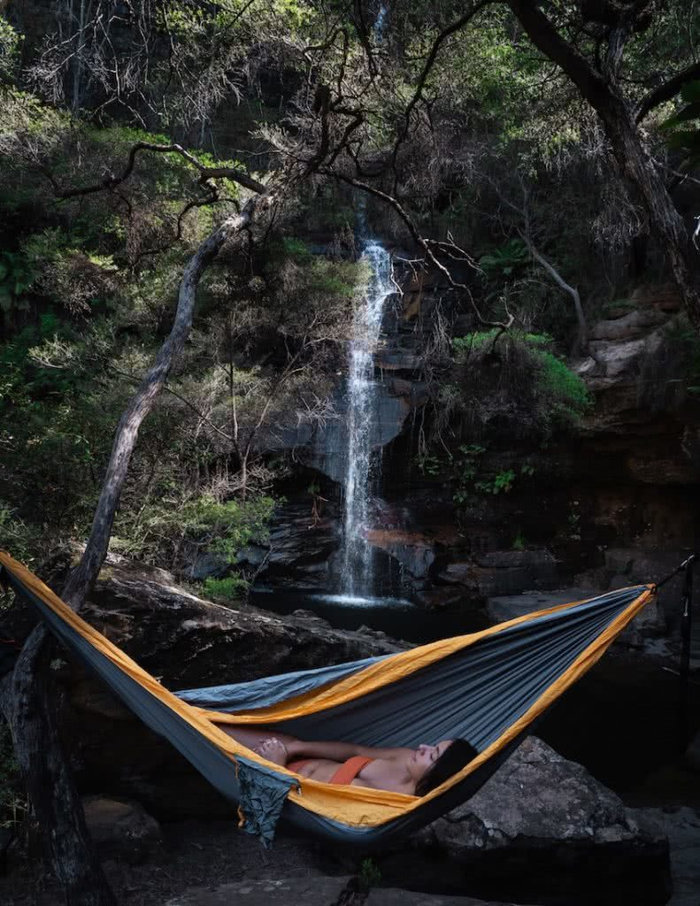 How To Camp In A Hammock, jeremy lam, ticket to the moon, climbing anchors, sleep in a hammock, blue mountains, nsw, waterfall