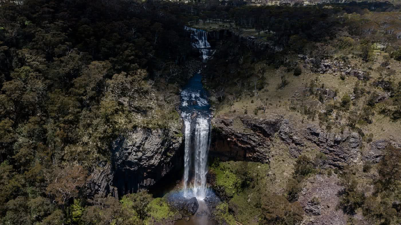 The Best of the New England Highlands (NSW) Dan Parkes waterfall, aerial shot,