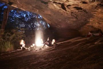Overnight Hike To Pindar Cave // Brisbane Water National Park (NSW), photo by Andy Lewis, NSW, fire, cave