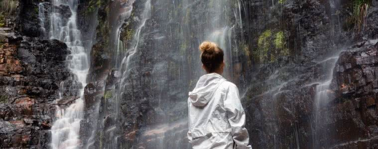 Embrace the rain // Matt 'n' Kat Pearce rain coat, waterfall