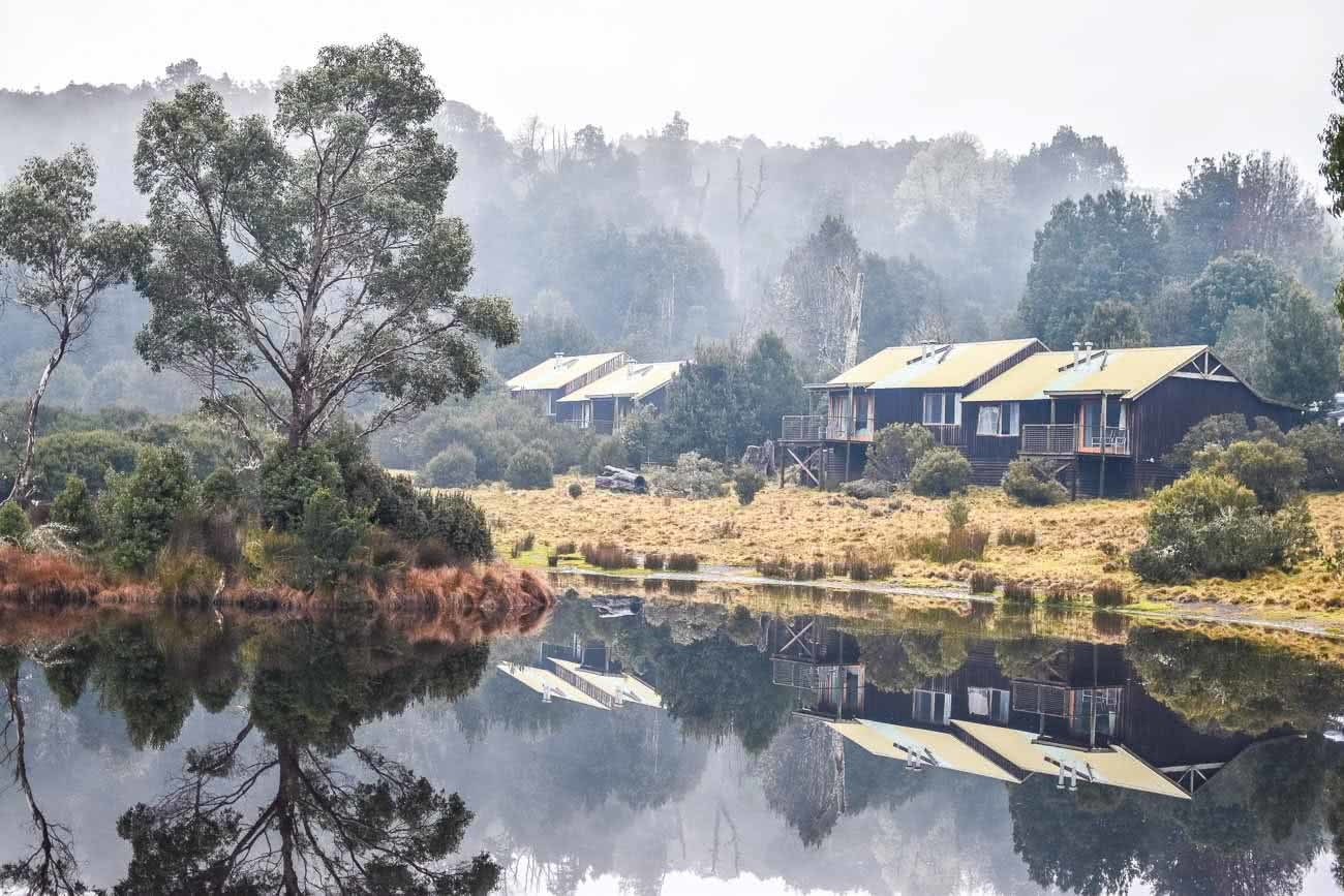 Winter Road Trippin' Tassie // Photo Essay Brent Frondall mountain, trees, reflection, lake, hut