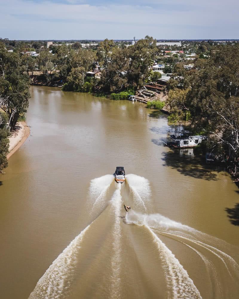 Deniliquin Should Be Your Next Weekend On The River, photo by Ben Savage, deniliquin, nsw, visit deni, drone, wakeboarding
