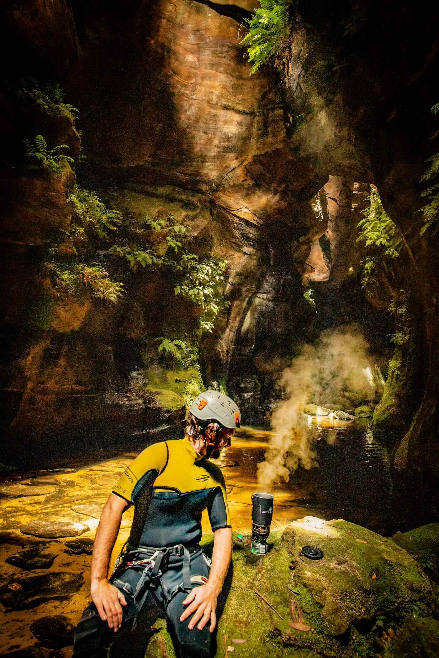 Canyoning In Search Of A Good Beer Harriet Farkash, Osprey Adventure Grant, campsite, blue mountains, canyon, jet boil