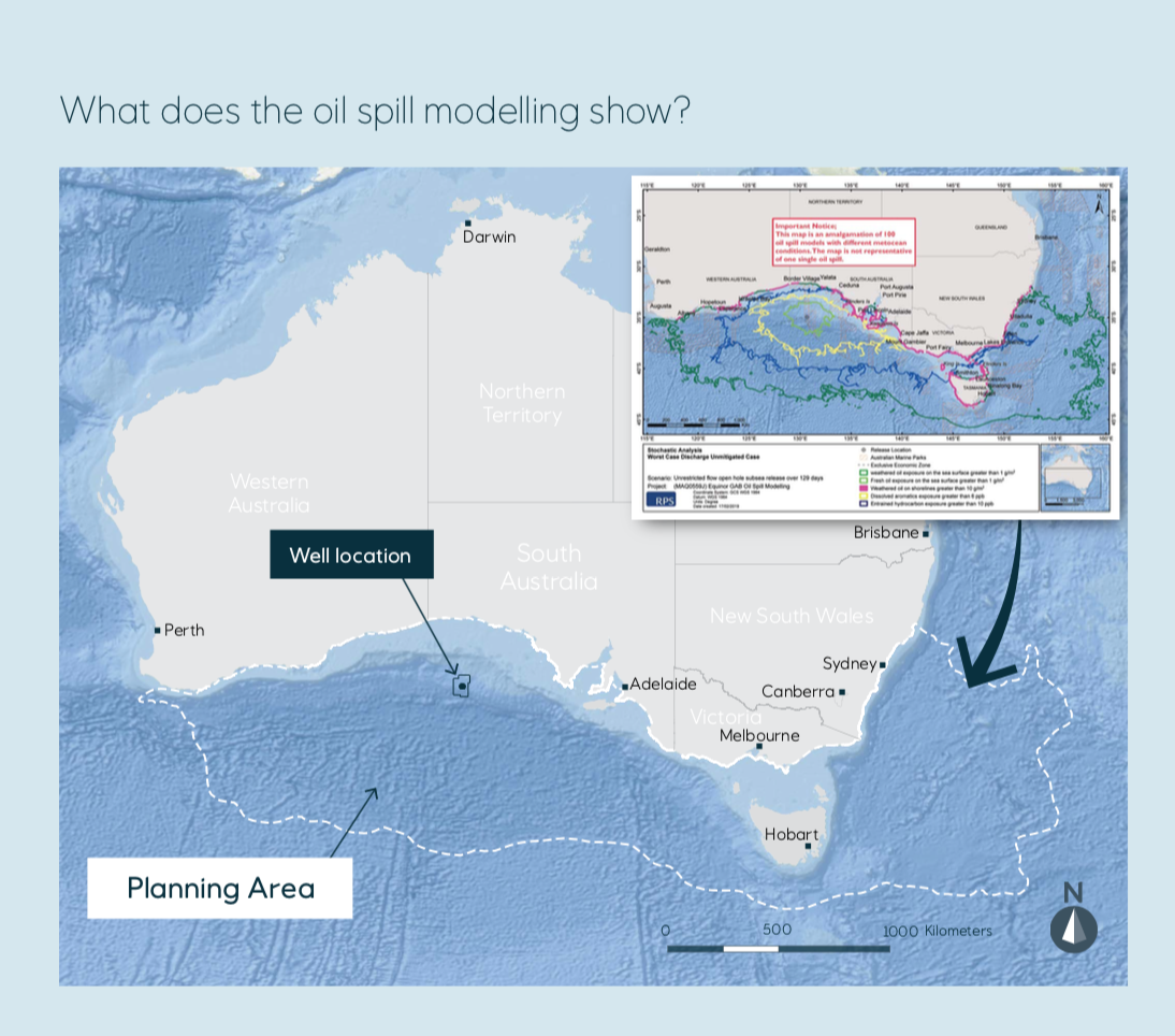 Equinor, fight for the bight, spill modelling and drill location