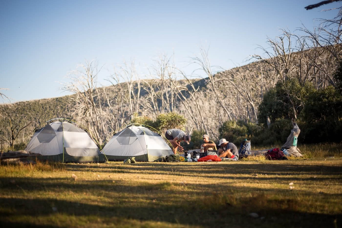 The High Plains on Foot – Four Day Falls Creek Circuit (VIC) Lachlan Fox high plains, camp site, tents, hiking packs