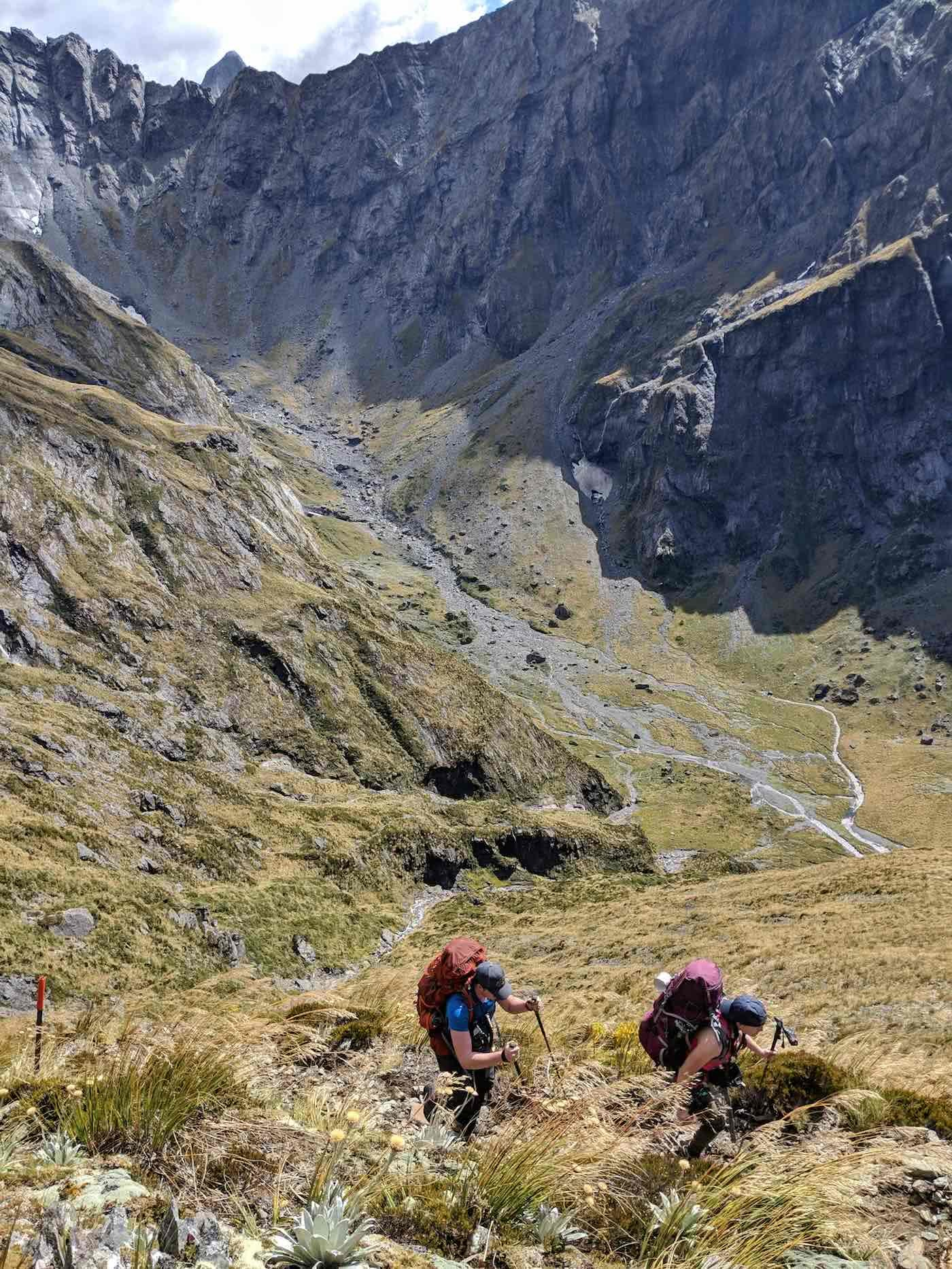 Gillespie Pass Circuit – the Best NZ Multi-day Hike You've Never Heard Of Aidan Howes, photo by Sonja Saxe hiker, mountain, valley, Ascent