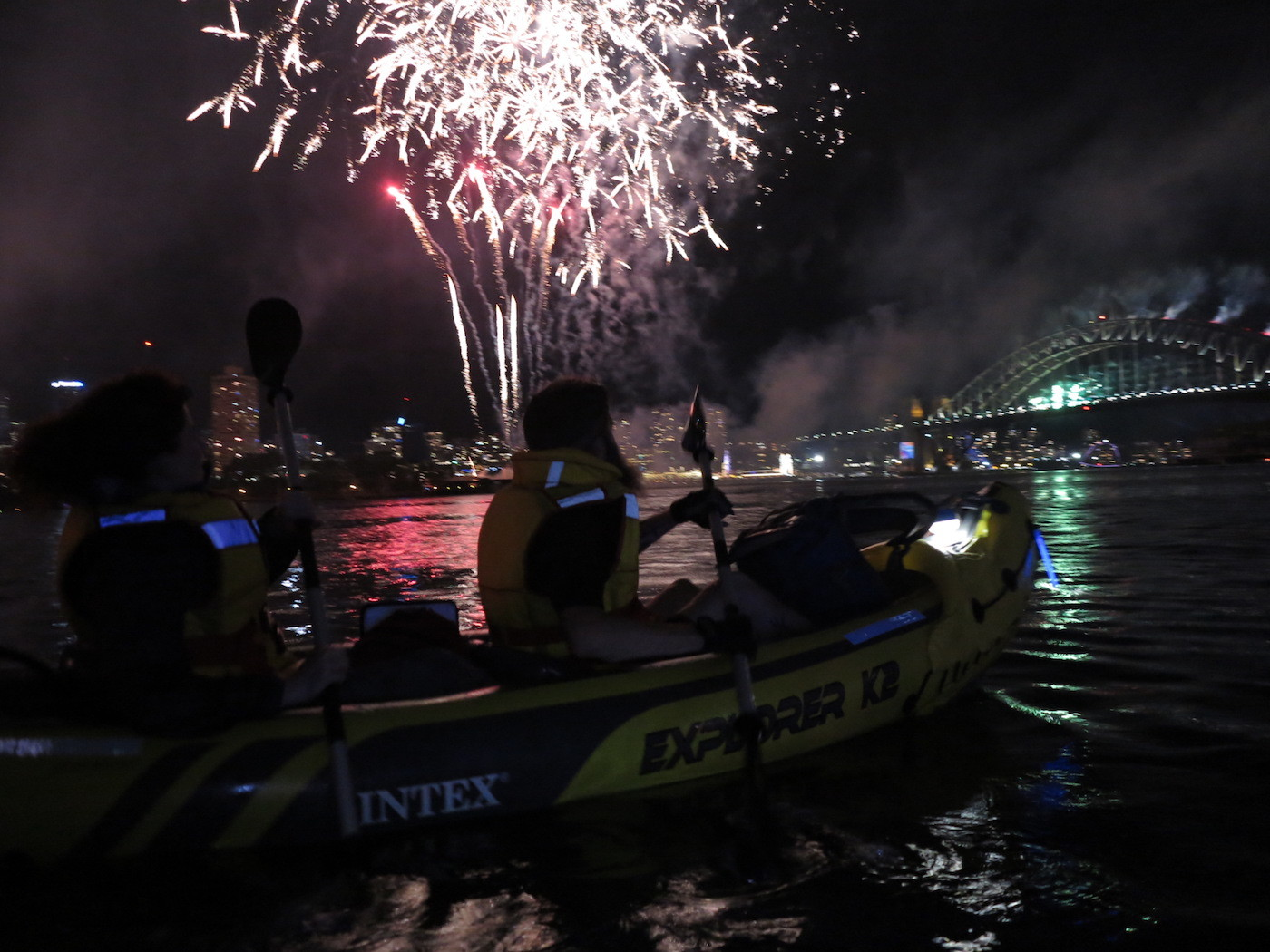 Re-Ignite Your New Year's Eve – Fireworks By Kayak Dan Slater fireworks, sydney harbour, kayaking, life jackets