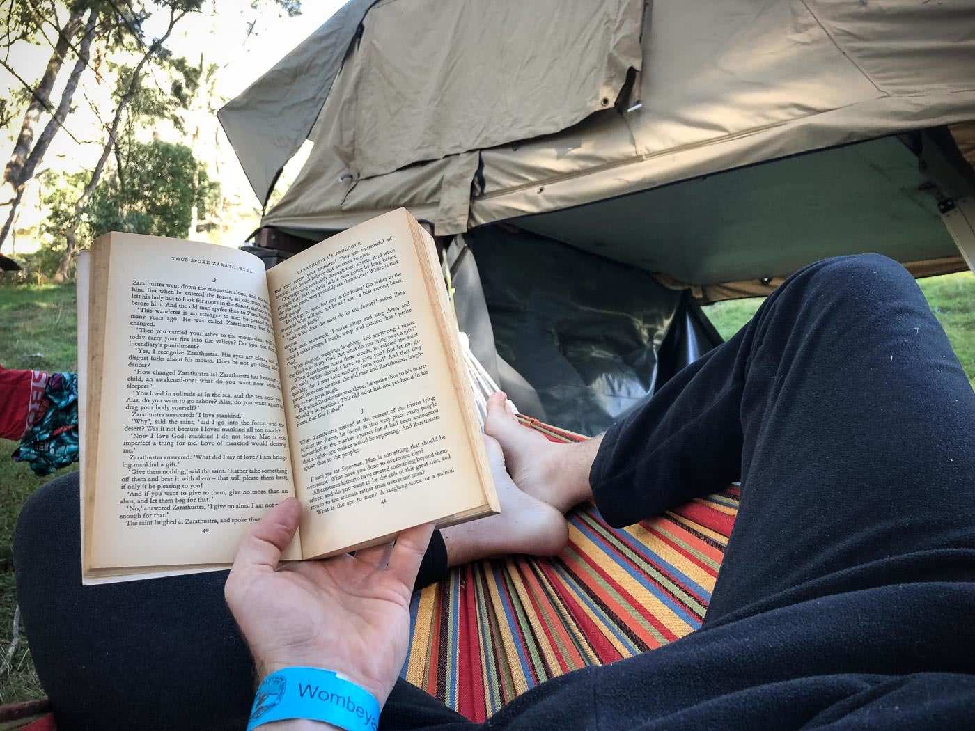 Exploring Wombeyan Caves // A Spelunkin' Marbleous Weekend (NSW), photo by Tim Ashelford, hammock, reading, book, nsw