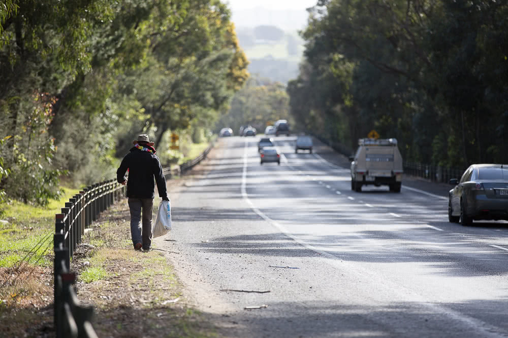 Why This Bloke Walked 90km To Work, Beau Miles, photo by Rodney Dekker, walk to work, melbourne, shoulder