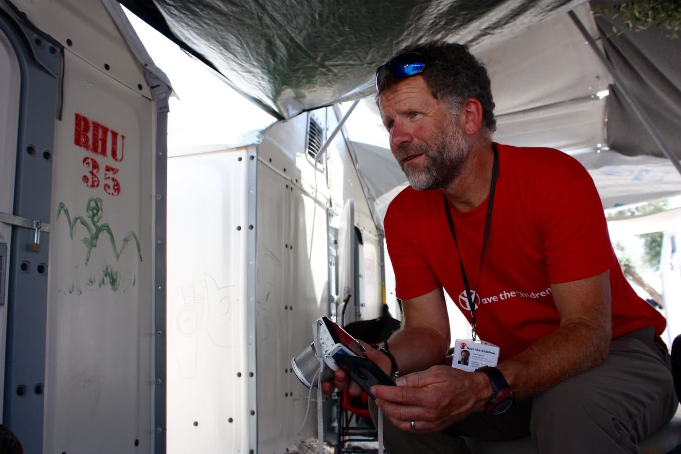 A Life Of Adventure And Now, Politics? // Interview With Huw Kingston, Huw Kingston, Save the Children Ambassador - Lesvos Refugee Camp, Greece - Credit Save the Children Australia
