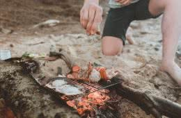 Seafood Feast On A Lightweight Titanium Grill // Camp Kitchen by Sam Schumann photos by Louis Raymond alton goods, seafood, camp fire