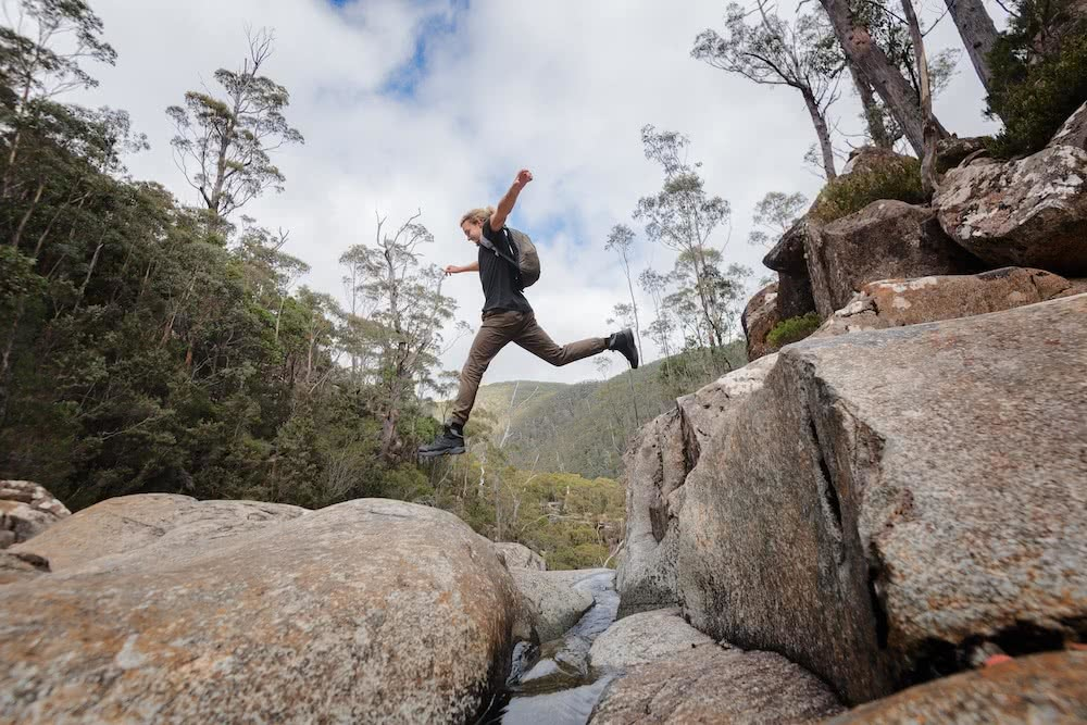 How To Choose A Great Pair Of Hiking Boots (And Why You Need Them), Photos by Jake Anderson, Merrell, choosing hiking boots, tasmania, hiking, trail running, mid-cut, low-cut, jump