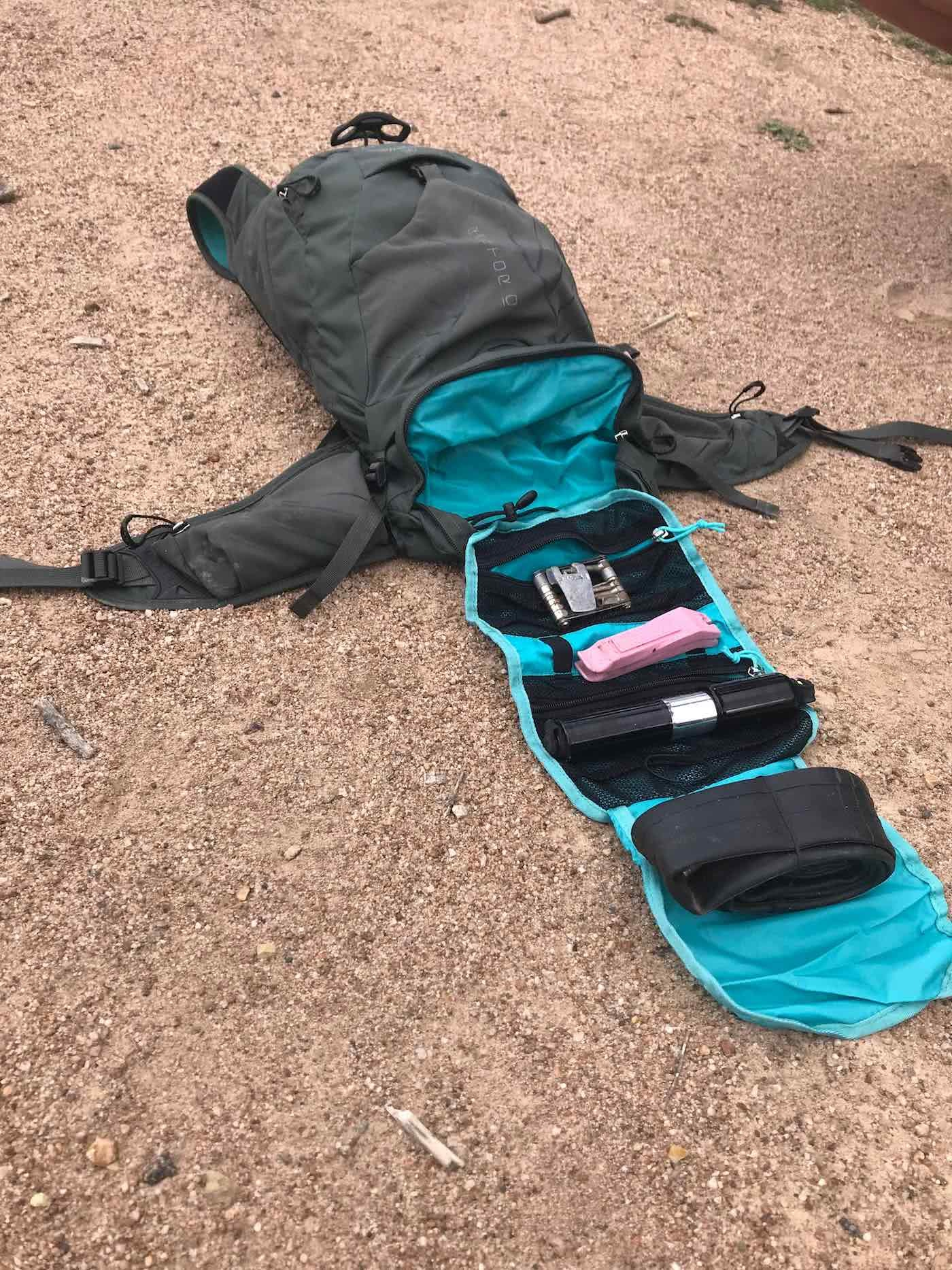 Osprey Raptor 10 Riding Pack // Gear Review by Rowan Beggs-French cycling backpack, rock garden, mountain biking, tool section