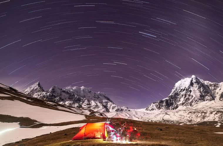 The Best Meteor Showers Of 2019, Pat Corden, astrophotography, tent, snow, mountains