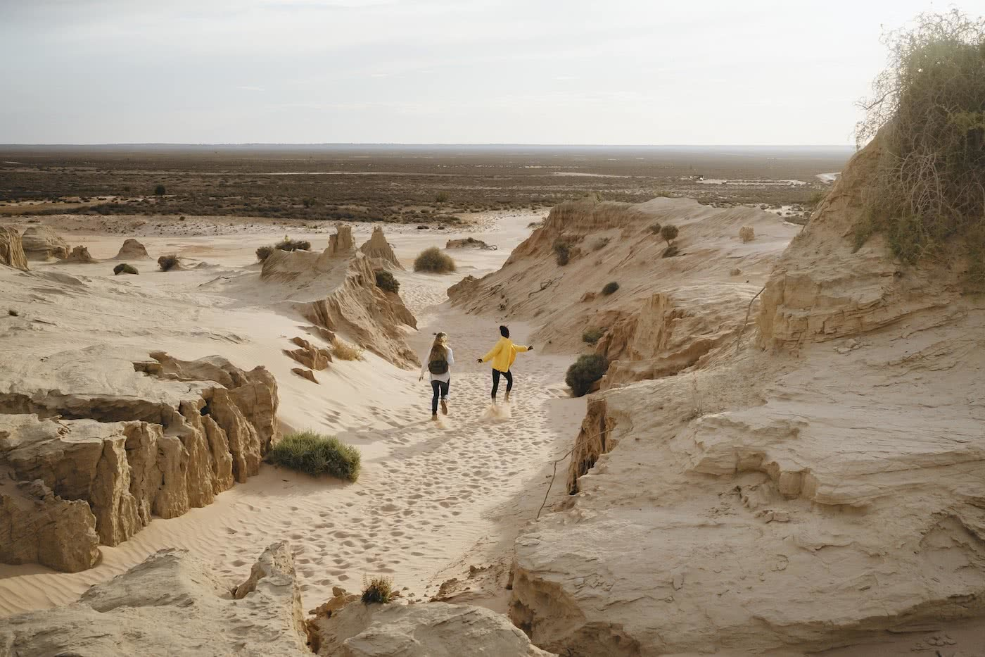 Australia's Oldest Human Remains Can Be Found Where The Outback Meets The Wetlands, photo by Ain Raadik, walls of china, Mungo National Park, Riverina, Murray, Destination NSW, sand dunes, women, run, desert, plains