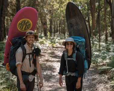 A Wilderness Surfari In Remote East Gippsland (VIC/NSW) by Jake, Sam and Georgia Doherty Osprey Adventure Grant, surf boards, backpacks and bushland