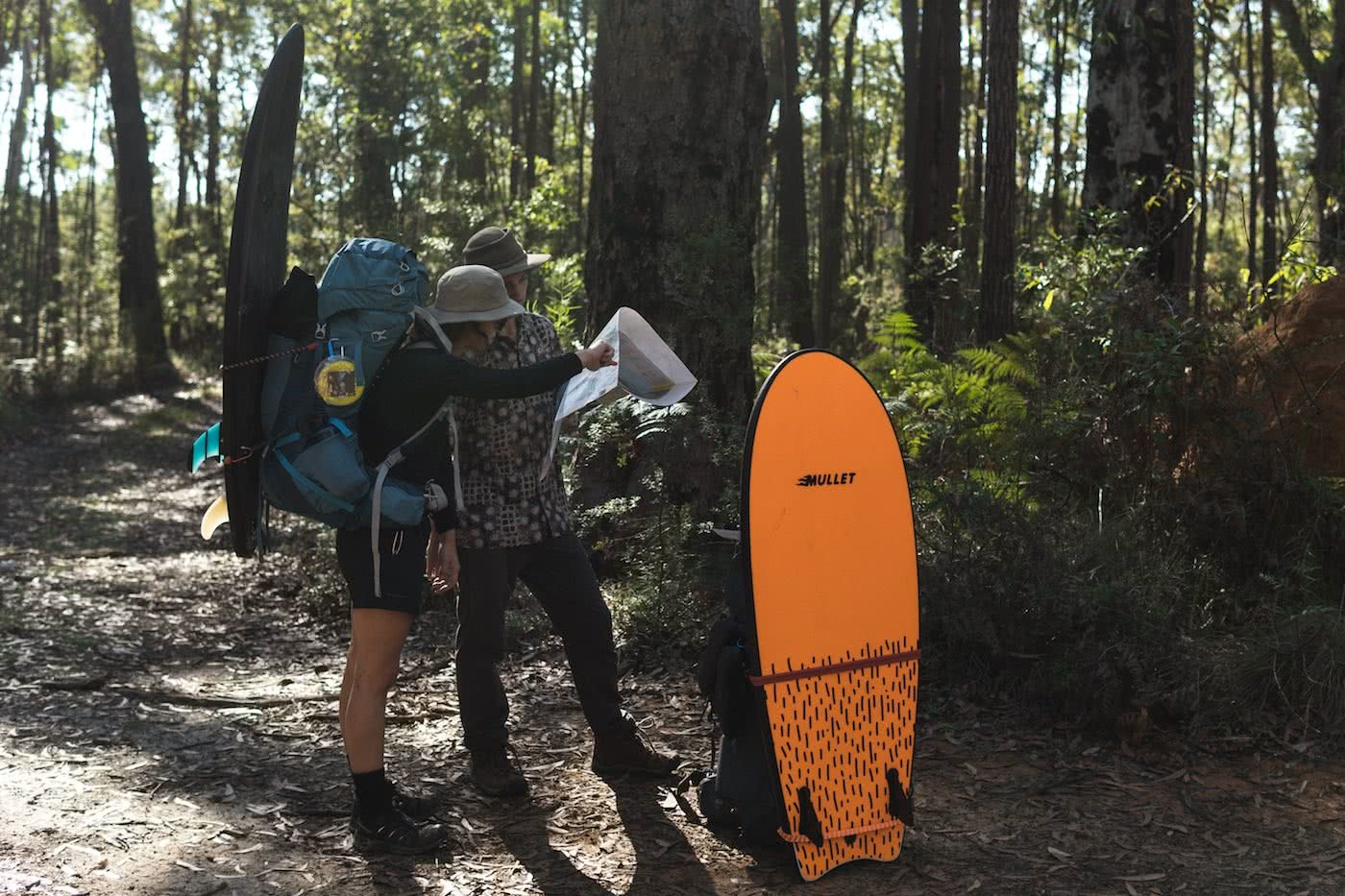 A Wilderness Surfari In Remote East Gippsland (VIC/NSW) by Jake, Sam and Georgia Doherty Osprey Adventure Grant, surf boards, backpacks and bushland, navigation, map reading