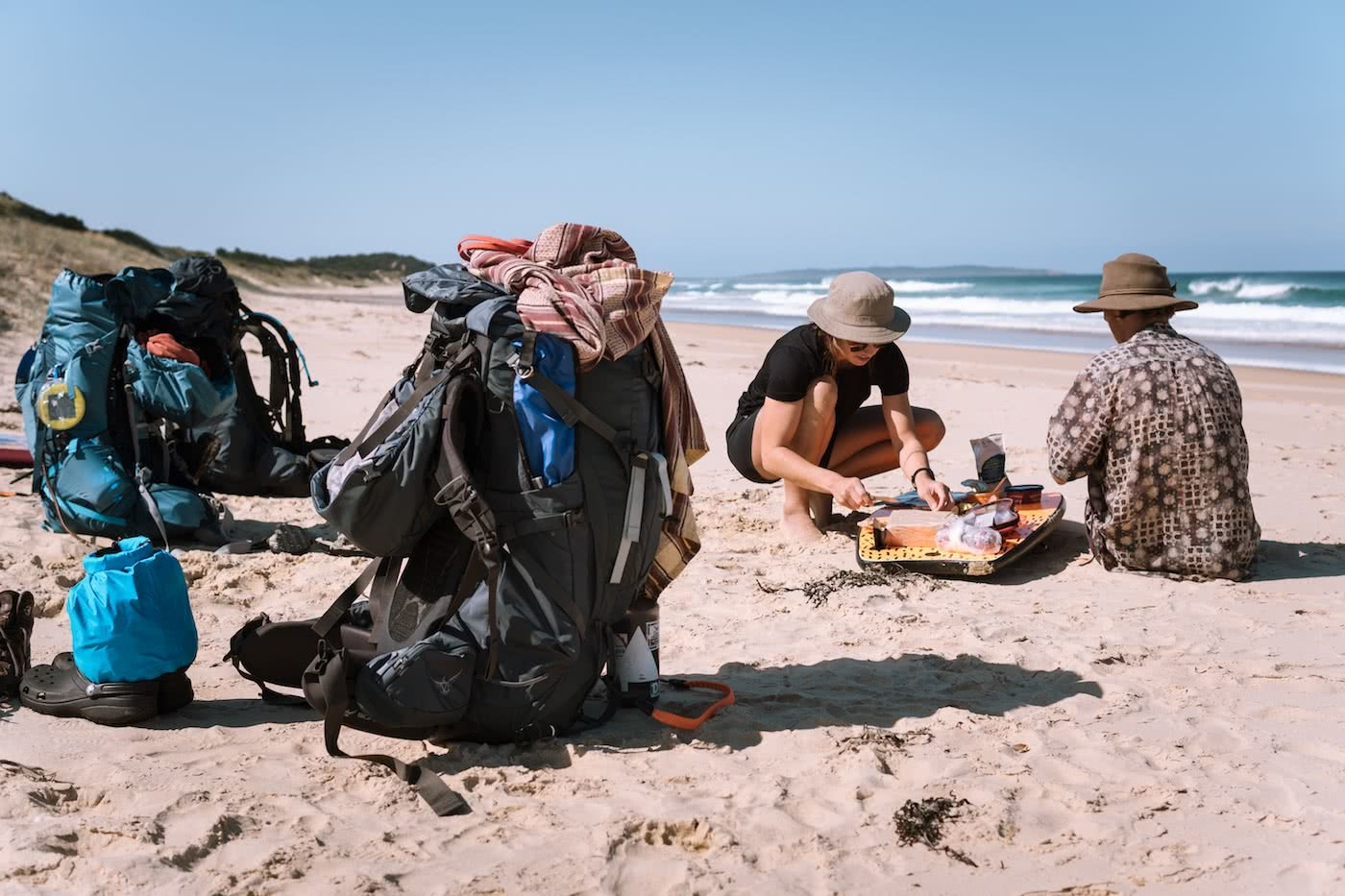 A Wilderness Surfari In Remote East Gippsland (VIC/NSW) by Jake, Sam and Georgia Doherty Osprey Adventure Grant, surf boards, beach, backpacks, picnic lunch