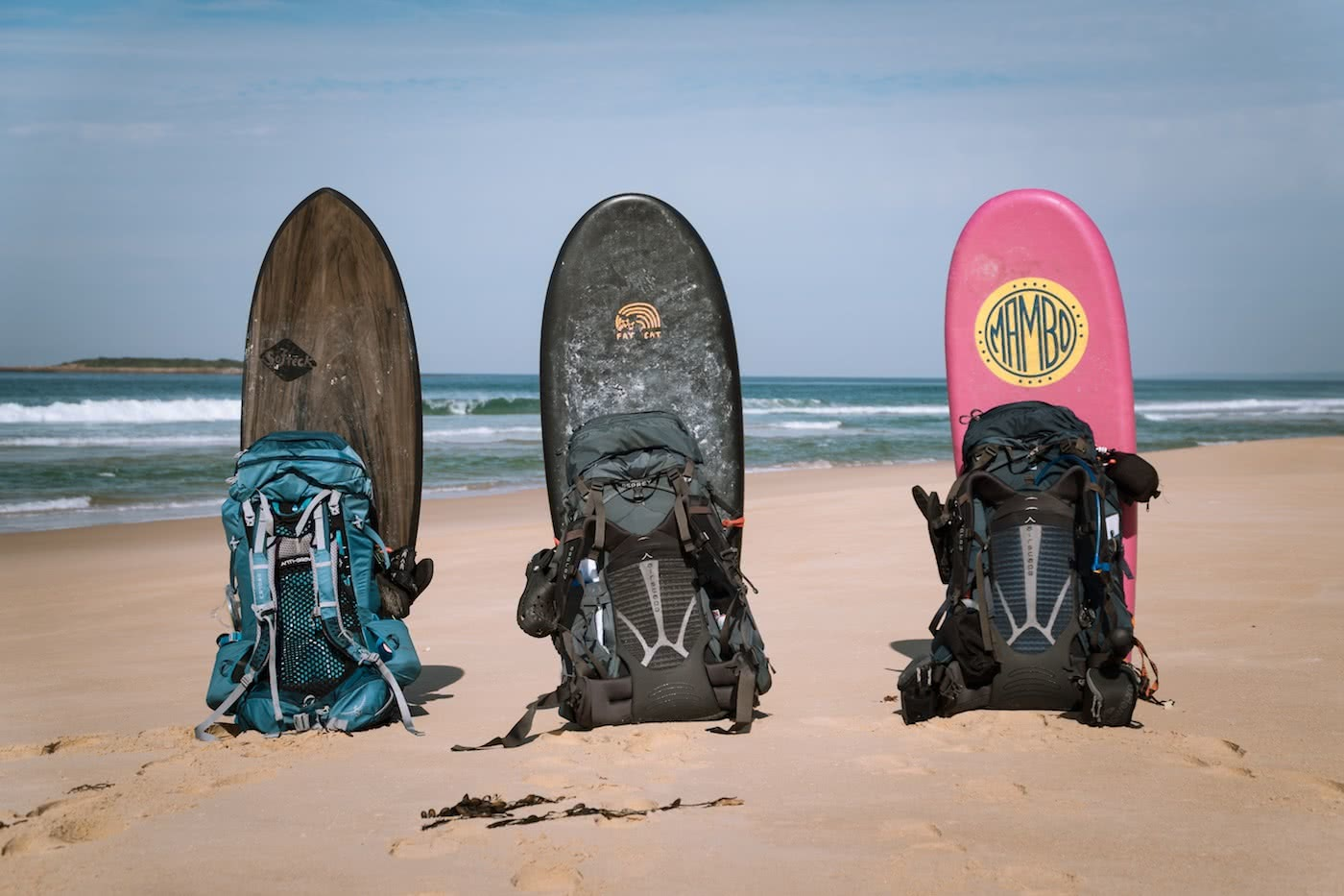 A Wilderness Surfari In Remote East Gippsland (VIC/NSW) by Jake, Sam and Georgia Doherty Osprey Adventure Grant, surf boards, beach, backpacks, waves