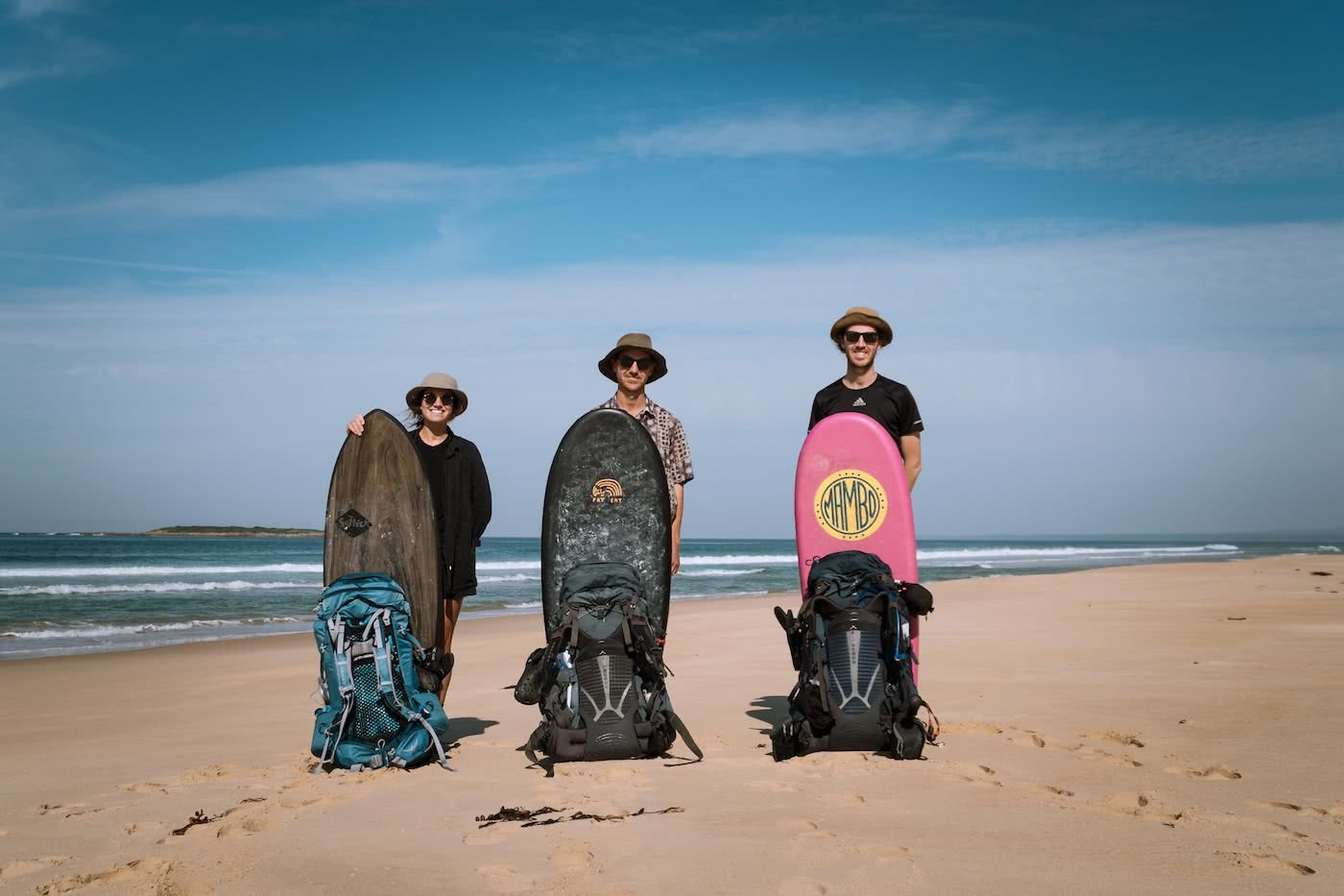A Wilderness Surfari In Remote East Gippsland (VIC/NSW) by Jake, Sam and Georgia Doherty Osprey Adventure Grant, surf boards, beach, backpacks