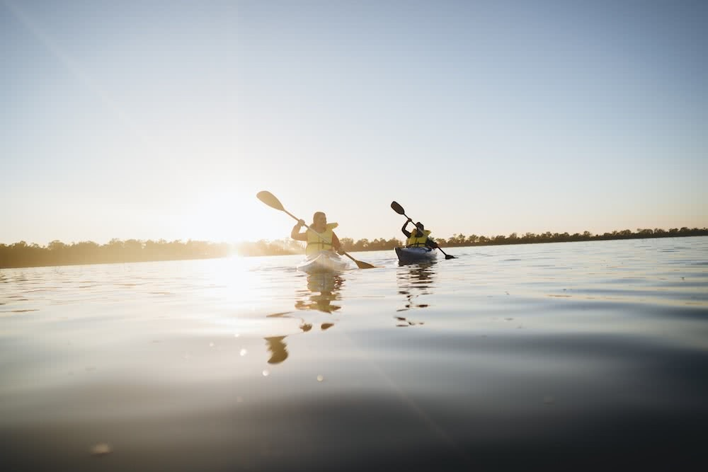 Australia's Oldest Human Remains Can Be Found Where The Outback Meets The Wetlands, photo by Ain Raadik, wetlands, Destination NSW, Balranald sunset, kayaks