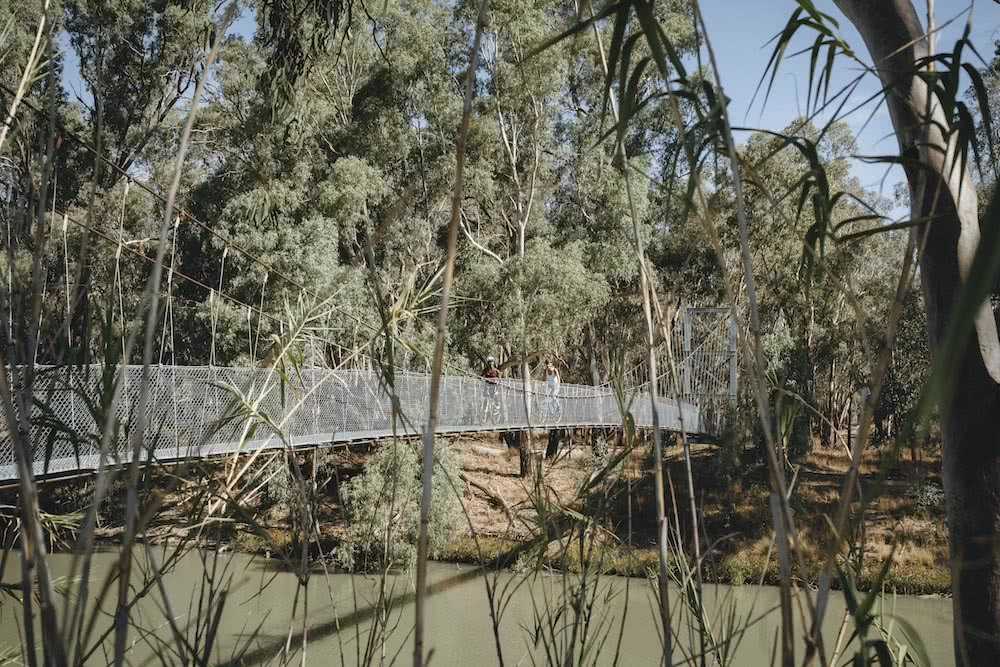 Australia's Oldest Human Remains Can Be Found Where The Outback Meets The Wetlands, photo by Ain Raadik, wetlands, Destination NSW, Balranald, bikes, bridge