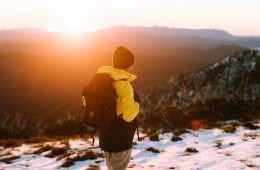First-Time Alpine Hiking On Mt Buffalo (VIC) by Cedric and Melody Tang, XTM Performance jacket, sunset in the snow, backpack