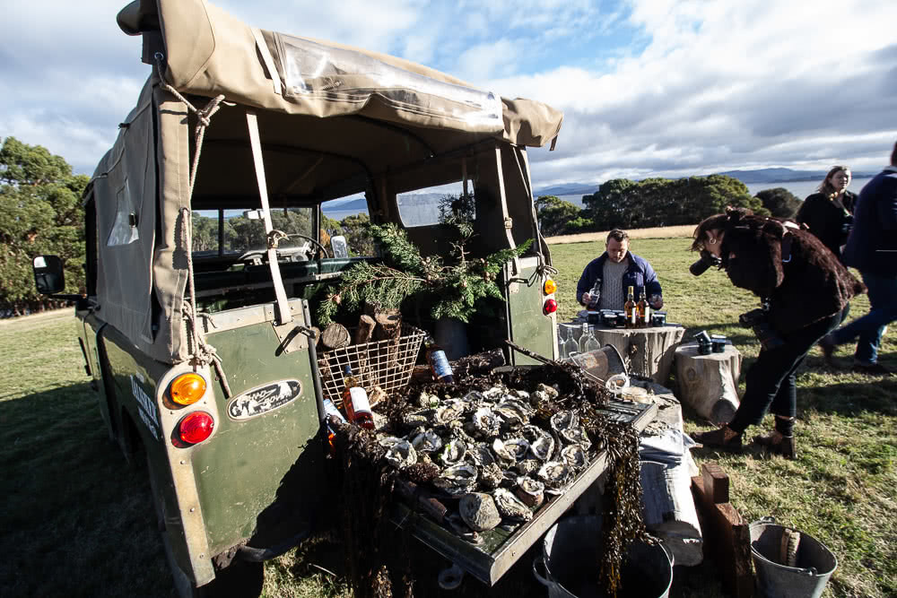 Satellite Island, photo by Tim Ashelford, Talisker Whisky, Tasmania, oysters, land rover