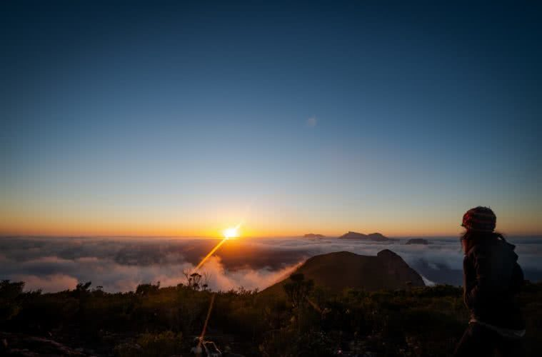 Three Peaks In One // Mount Trio – Stirling Ranges (WA) by Megan Warner, sunrise above the clouds